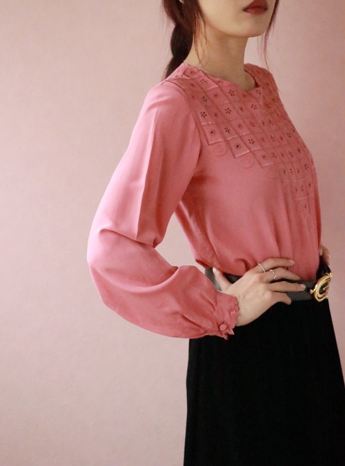 pink embroidery silk blouse