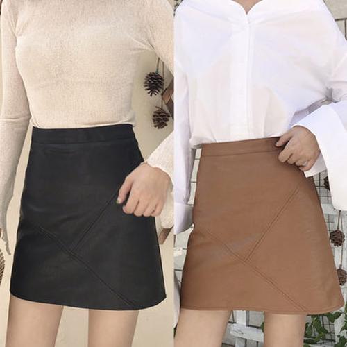【送料無料】【2色】かわいい パッチワーク風 台形スカート ショート 無地 カジュアル 春秋
