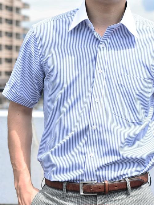 【形態安定加工】クレリック半袖シャツストライプ柄 (衿セミワイド)KB