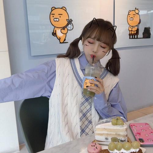 【送料無料】 スクールガール♡ チェック柄 ネクタイ オーバーサイズ ブラウスシャツ ニットベスト 3点セット