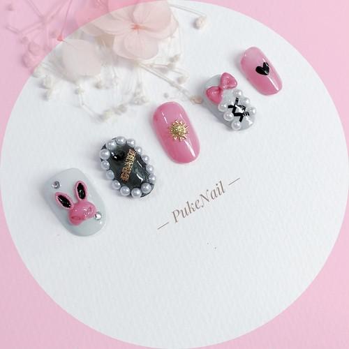 Pukeネイル発送無料[No.264]ウサギ /量産型・可愛いピンク♡ジェイルネイルチップ