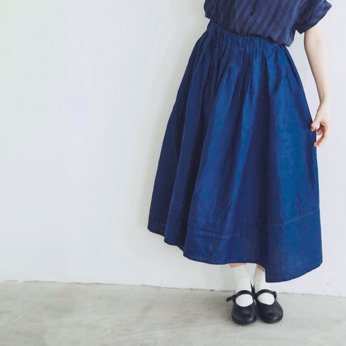 MAGALI インディゴリネン・ロングギャザースカート/ネイビーブルー