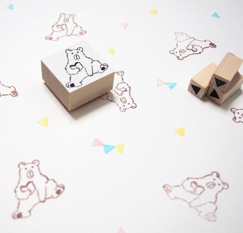 読書クマのはんこ+三角形3個セット