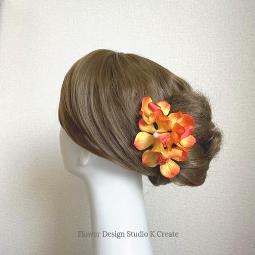 オレンジの蘭のUピン(オレンジ S:4本セット)髪飾り 浴衣 髪飾り オレンジ モカラ ラン