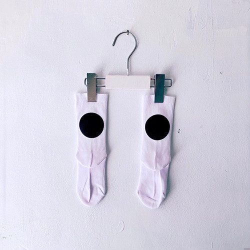 MONDEWORK CIRCLE SOCKS  #5 白×ブラック●