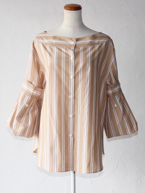 【SAYAKADAVIS】Rolled Cuff Blouse-beige stripe
