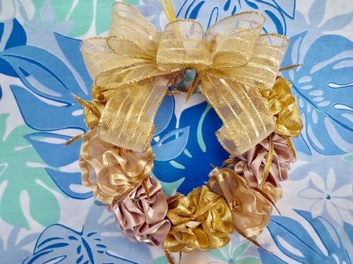 ハワイアンリボンレイ(レシピなし)【マリーゴールドのゴールドクリスマスリース キット】