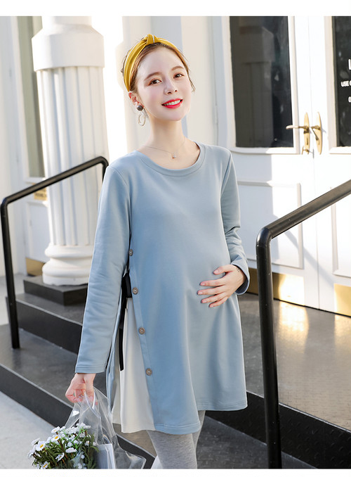 【注文商品】【マタニティー】Maternity Korean Style Long Sleeve Tops【Sky Blue】