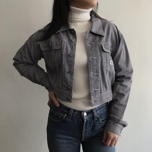 90's カルバンクライン 千鳥格子ショート丈ジャケット [Calvin Klein]