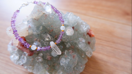 Amethyst & Crystal Quartz Natural Point & Moonstone Bracelet