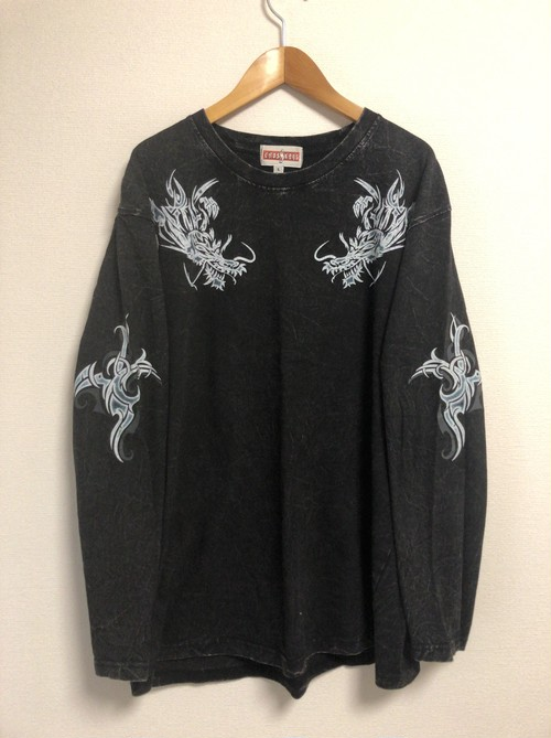 late90's〜early2000's tribal tattoo dragon L/S T's