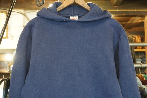 "50's HANES set-in sleeves navy Hoodie ""WIND SHIELD"""