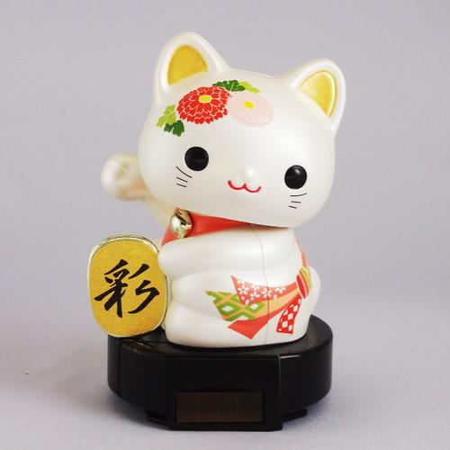 ソーラー赤ちゃん招き猫 (日本の伝統文様シリーズ ‐ 熨斗に菊)