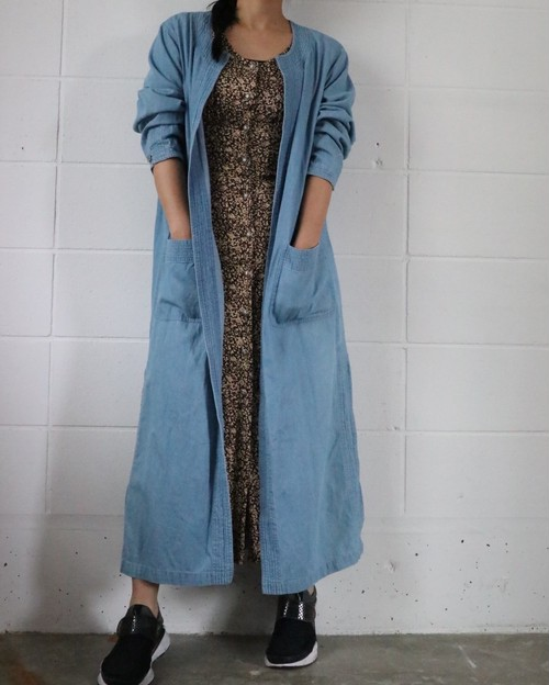 vintage denim long coat