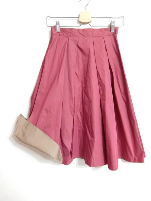 リバーシブルのハリ素材上品スカート ピンク×ベージュ