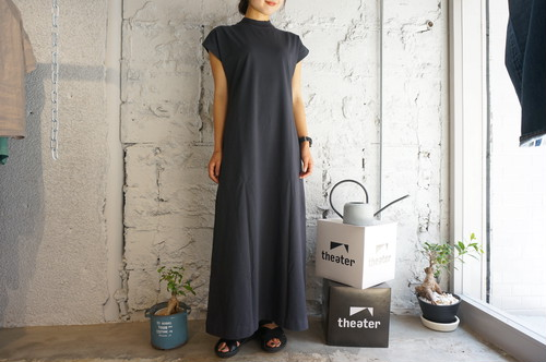 【Phlannèl】Organic Cotton Summer Long Dress col.Deep Gray