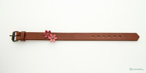 ワンポイントベルト茶色ピンク花M