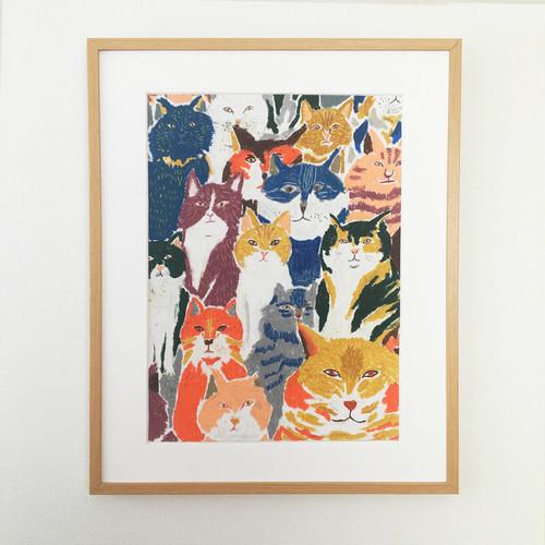 原画「猫たち」A3 フレーム付き
