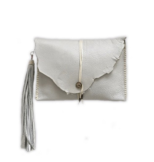 SALE! concho clutch (long tassle)white
