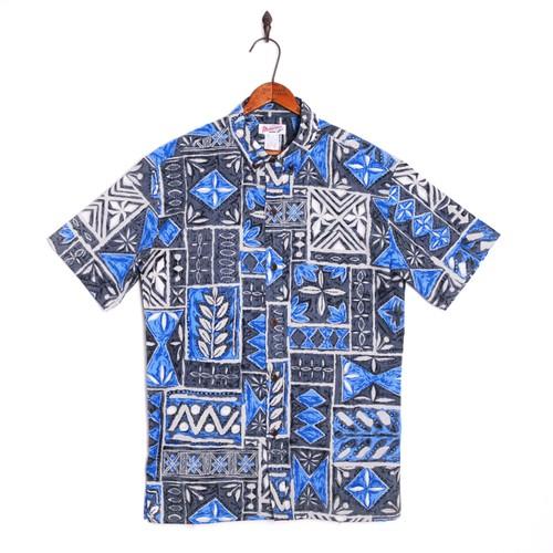 Mountain Men's / ボタンダウンアロハシャツ / 60's タパ柄 Blue