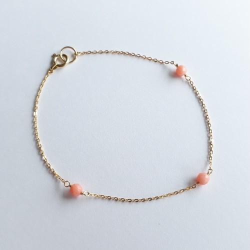 K18 Birth stone Bracelet -Coral- 3月誕生石コーラル (サンゴ)