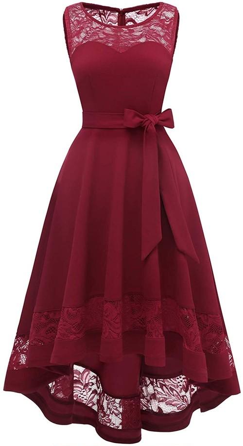 Gardenwed 結婚式ドレス パーティー 春夏 ワンピースフィッシュテール ロング 大きいサイズ お呼ばれ レース切替 ノースリーブ ミモレ丈 フォーマルワンピース