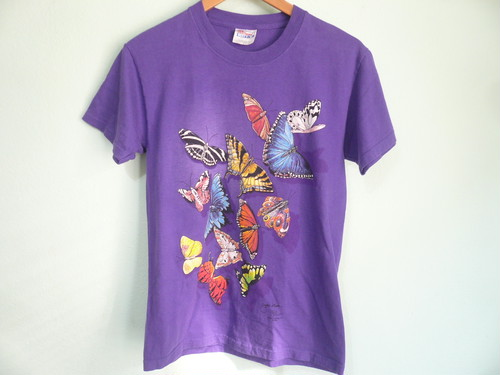 USビンテージ バタフライ ちょう チョウ 蝶 柄 Tシャツ /昆虫 動物 ネイチャー 自然
