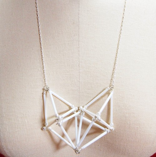 Three-dimensional Heart NECKLACE [White]