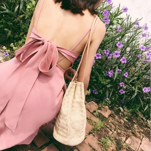 シフォン ドレス 甘いピンクのワンピース バックレース リゾート ビーチスカート