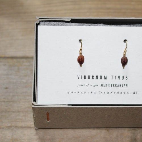 BOTANICAL JEWELRY/ボタニカルジュエリー VIBURNUM TINUS HOOK  EARRINGS / VTB1_150GF (BROWN)