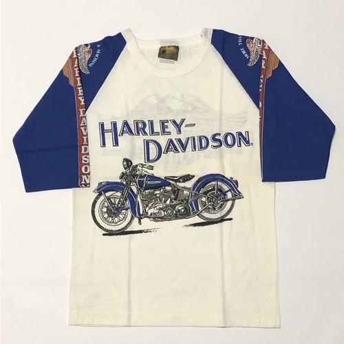 70's ヴィンテージ ハーレーダビッドソン Tシャツ Bernie May× HARLEY-DAVIDSON ダブルネーム イーグル×バイクプリント 青×白 ツートン カナダ製 七分袖 DEAD STOCK(M)