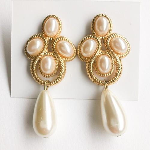 pearl & gold dangle pierce[p-595]