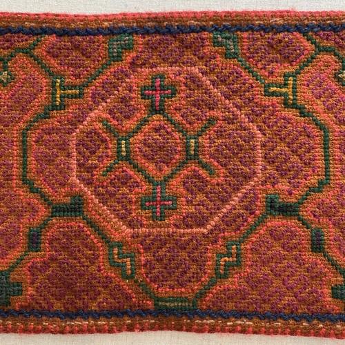 刺繍のカフェマット9 刺子風 南米シピボ族の手刺繍