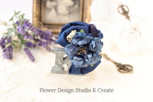 ブルーグリンのお花と紫陽花のバンスクリップ 髪飾り ヘアクリップ 青 ネイビー お出掛け フォーマル
