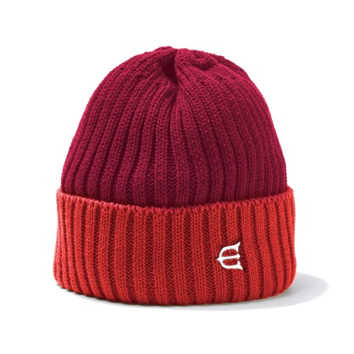 EVISEN COTTON 2TONE KNIT CAP RED エビセン ニットキャップ