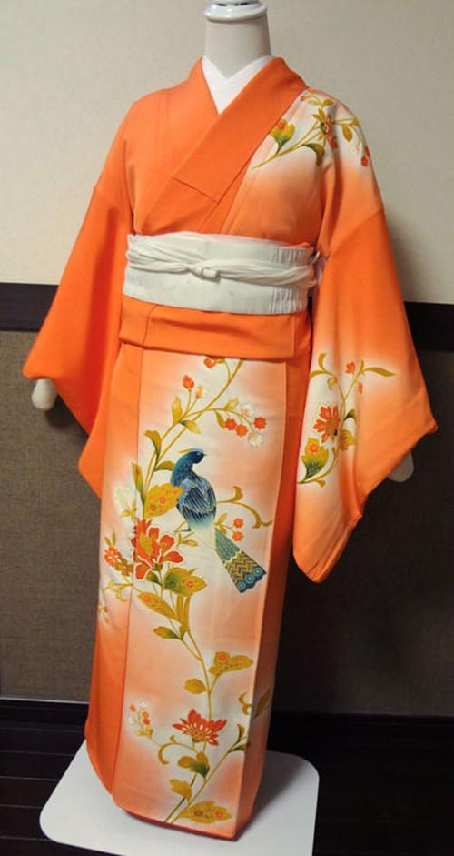 オレンジに花と青い鳥 訪問着