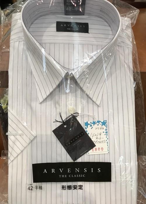 (衿回り42 半袖)形態安定加工 カッターシャツ 白地にストライプ
