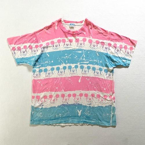 80s Disney | pink×light blue boarder pattern tee (V0778M)