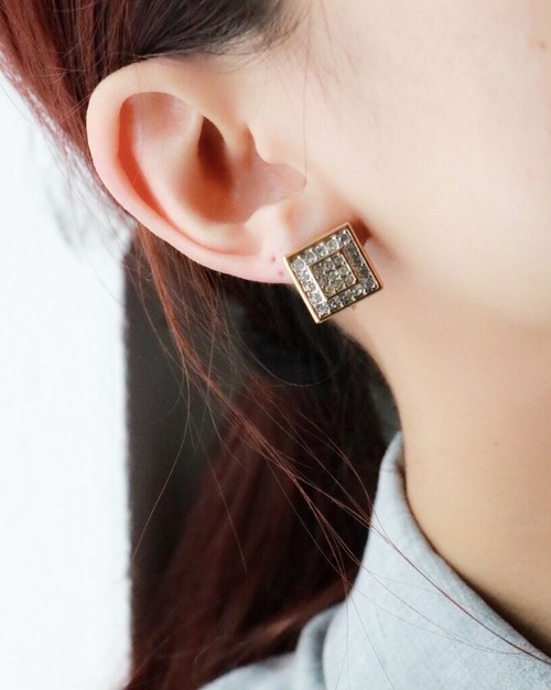 Givenchy rhinestone square earrings