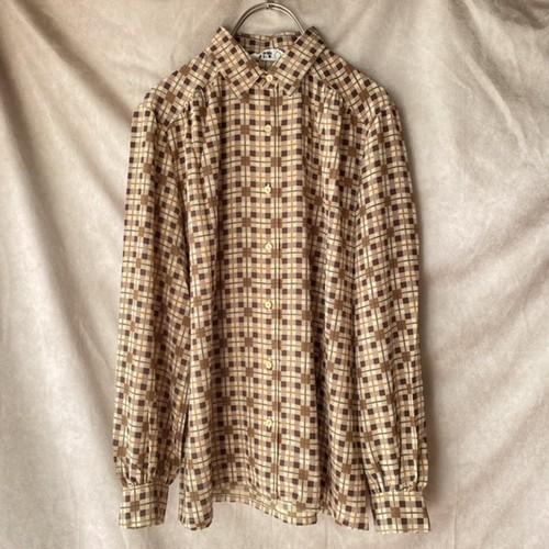 block check retro blouse/ブラックチェックのレトロブラウス