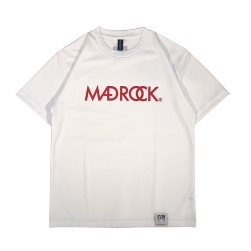 新色 マッドロックロゴ Tシャツ/ドライタイプ/ホワイト&レッド