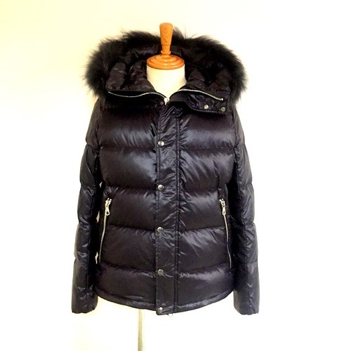 Matt Nylon Down Blouson with Racoon Fur Black