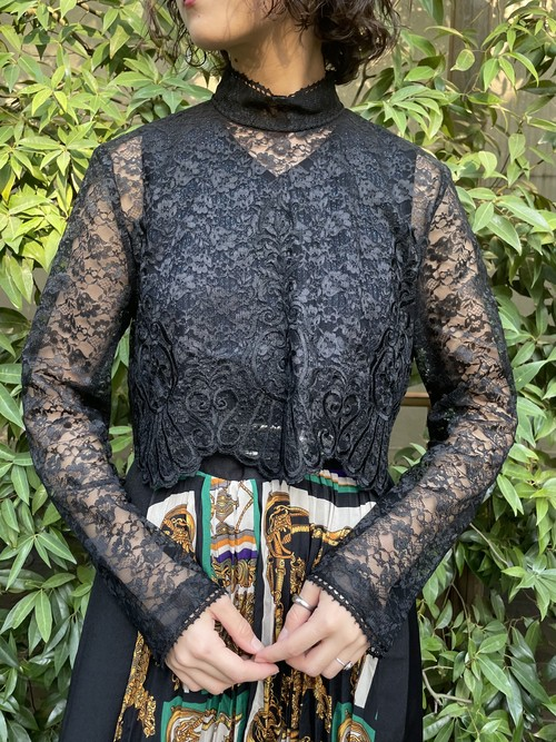 (TOYO) high neck lace design tops