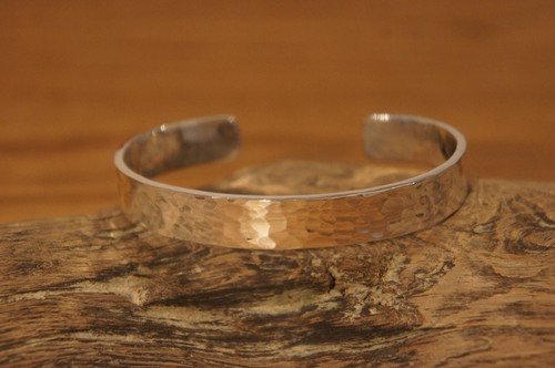 hammer finish silver bangle
