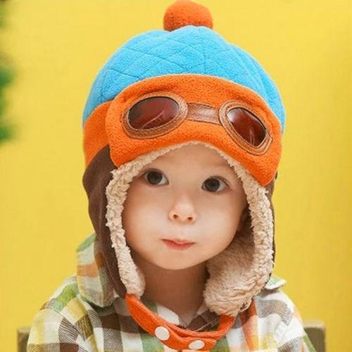 赤ちゃんのイヤフラップ 女の子 男の子 パイロットキャップ ブルー