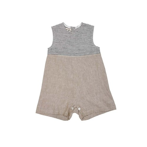 《AS WE GROW 2020SS》Sibling overall / beige × grey stripe
