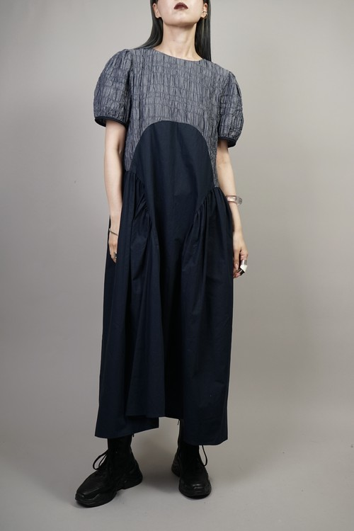 MIX MATERIAL SWITCHING ONE PIECE  (NAVY) 2106-35-31