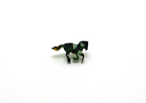 メガネの材料で作ったピンブローチ♪馬モチーフ●迷彩●手磨き仕上げで綺麗♪メガネ産地福井から