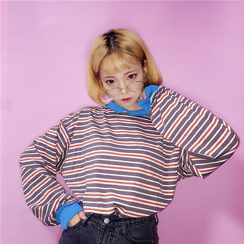 【トップス】カジュアルストリート系春秋切り替えストライプ柄長袖Tシャツ