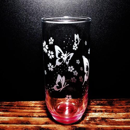 蝶 と 桜 の 赤色 グラス タンブラー 315ml